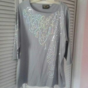 Bob Mackie Wearable Art Grey Top / Sequin Trim